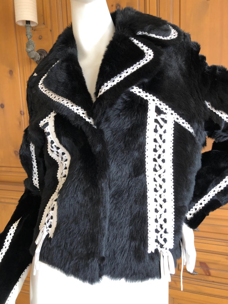 Christian Dior by John Galliano Black Fur Moto Jacket White Leather Lace Up Trim. This is so wonderful, inside is leather, outside is black fur. WHite leather trim with corset lacing. Size 38 Bust 40