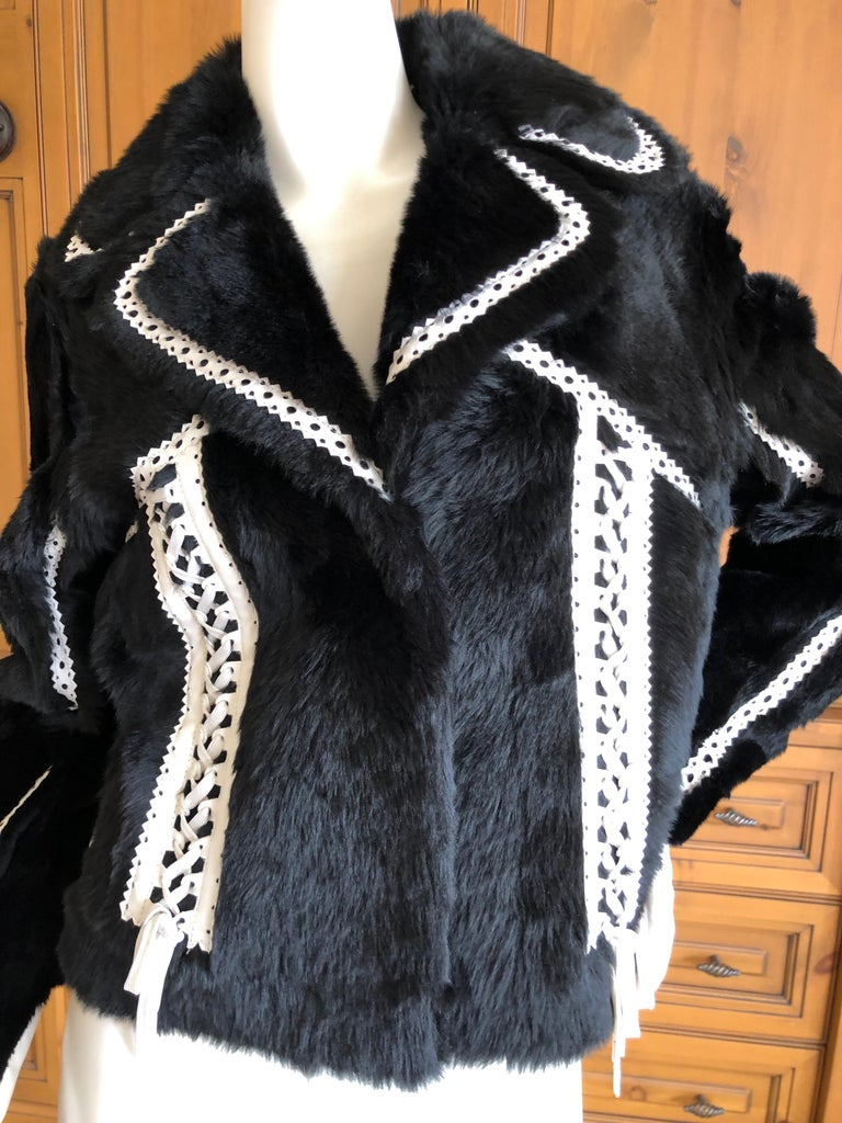 Christian Dior by John Galliano Black Fur Moto Jacket White Leather Lace Up Trim In Excellent Condition For Sale In San Francisco, CA