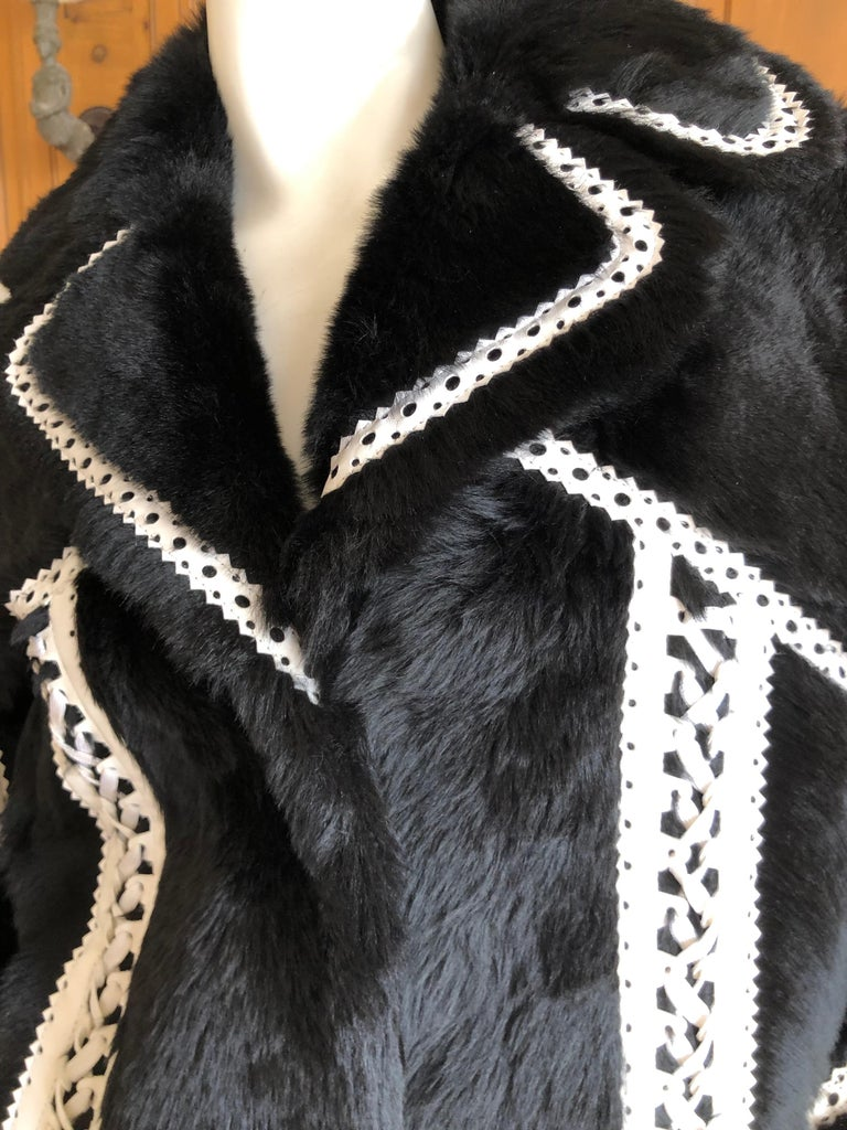Christian Dior by John Galliano Black Fur Moto Jacket White Leather Lace Up Trim For Sale 1