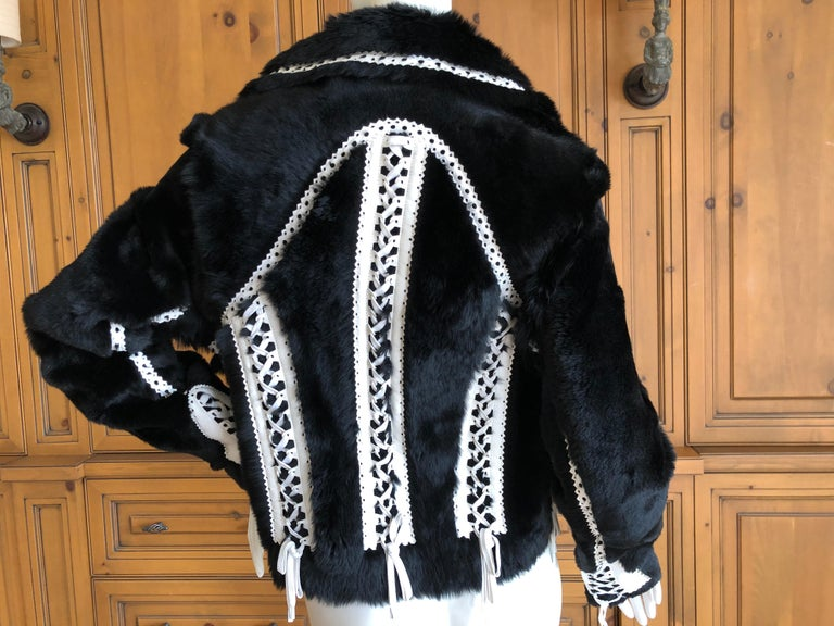 Christian Dior by John Galliano Black Fur Moto Jacket White Leather Lace Up Trim For Sale 3