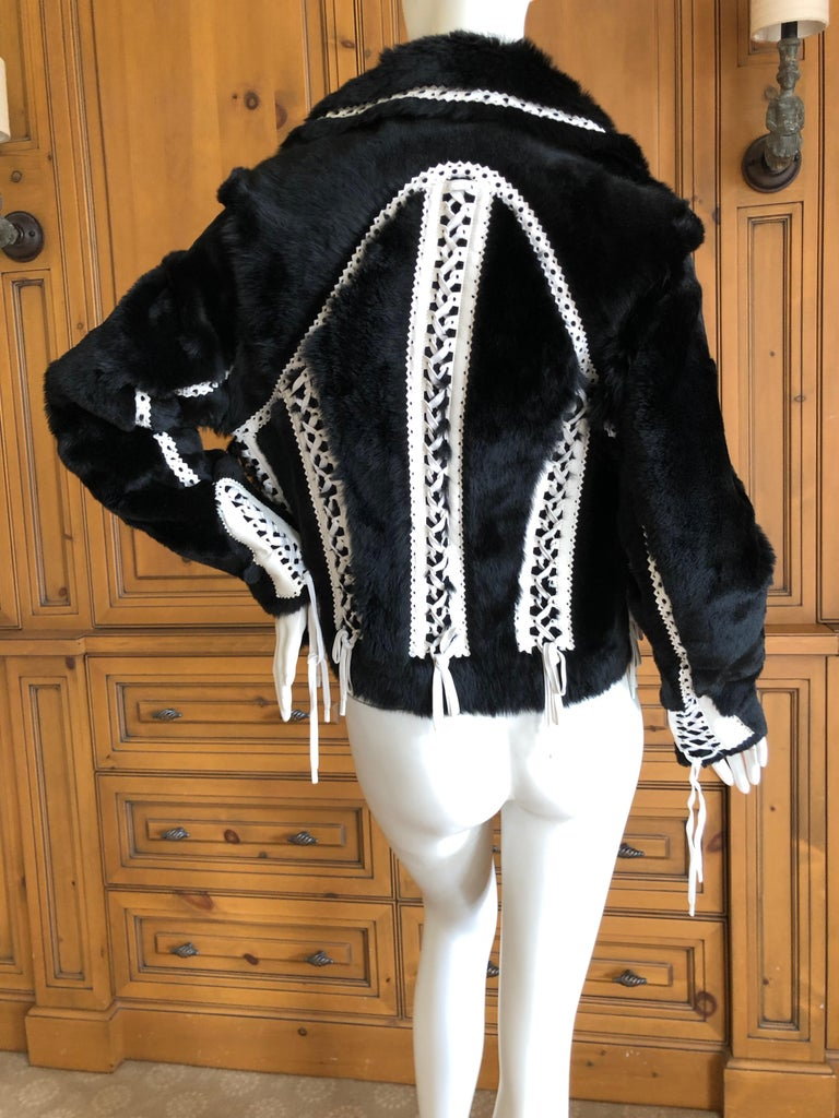 Christian Dior by John Galliano Black Fur Moto Jacket White Leather Lace Up Trim For Sale 5