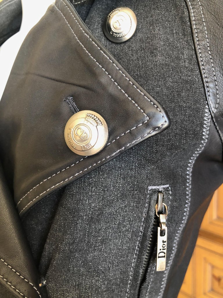 7bc41a383 Christian Dior by John Galliano Black Leather & Denim Motorcycle Jacket  Size 38