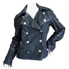 Christian Dior by John Galliano Black Leather & Denim Motorcycle Jacket Size 38