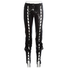 Christian Dior by John Galliano black leather lace up pants, fw 2003