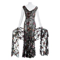 Christian Dior by John Galliano black velvet devoré bias cut dress, ss 2000