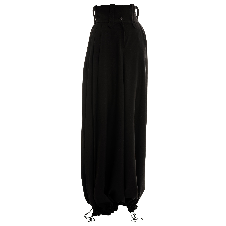 Christian Dior by John Galliano black wool wide leg haram pants, ss 1999