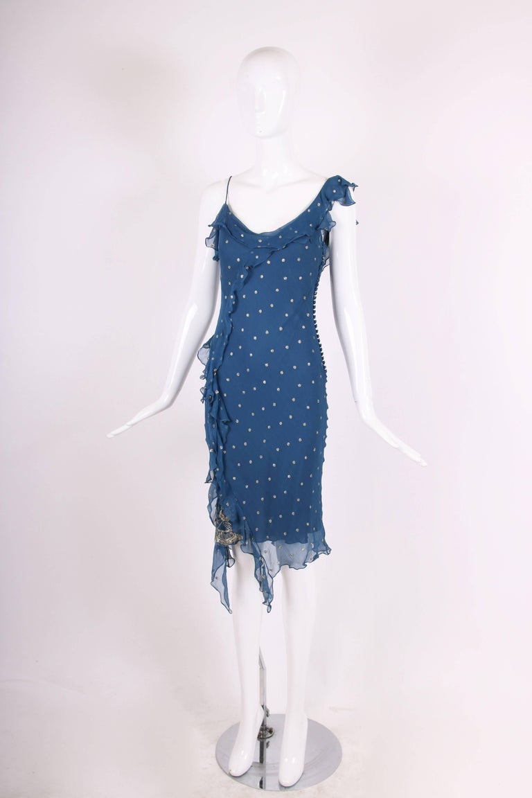 Christian Dior by John Galliano Blue Chiffon Gold Dots Bias Cut Cocktail Dress  In Good Condition For Sale In Los Angeles, CA