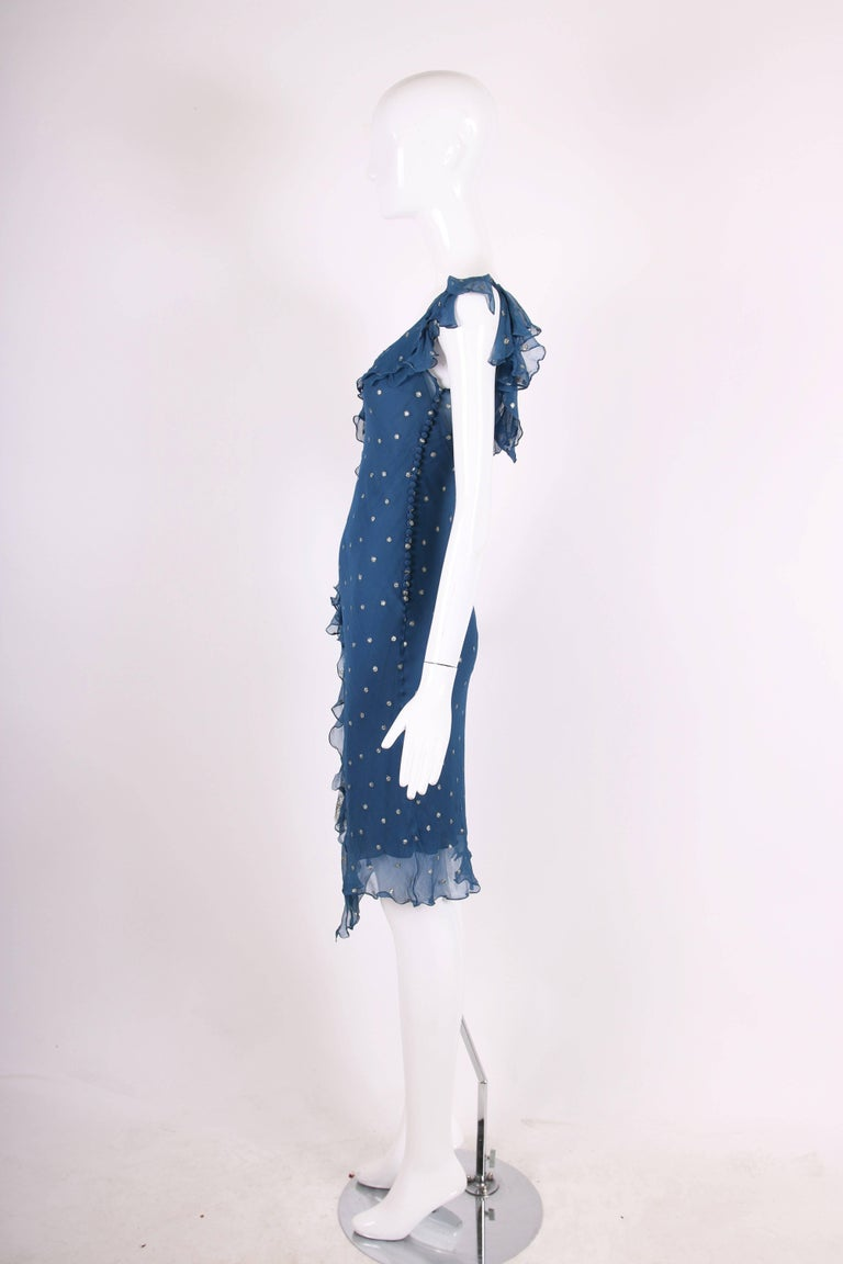 Christian Dior by John Galliano Blue Chiffon Gold Dots Bias Cut Cocktail Dress  For Sale 1