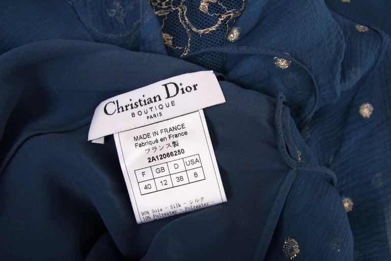 Christian Dior by John Galliano Blue Chiffon Gold Dots Bias Cut Cocktail Dress  For Sale 4