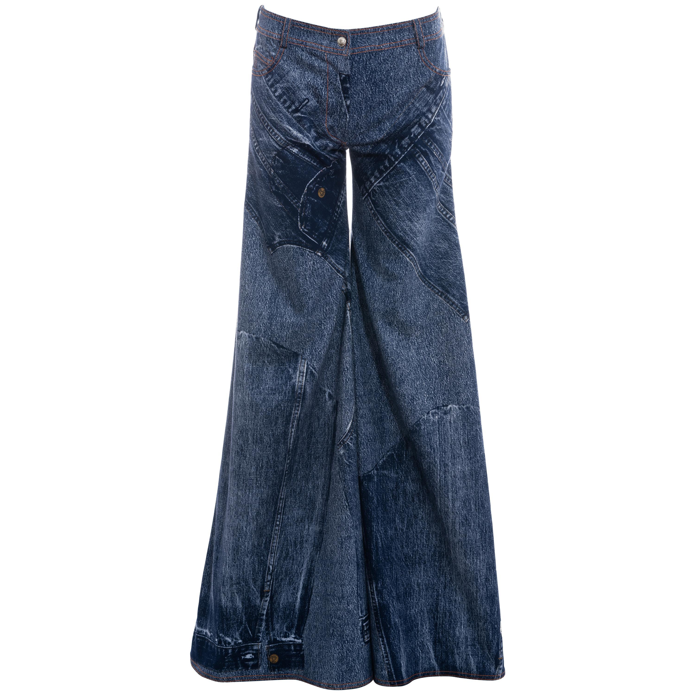 Christian Dior by John Galliano blue denim print wide-leg pants, ss 2002