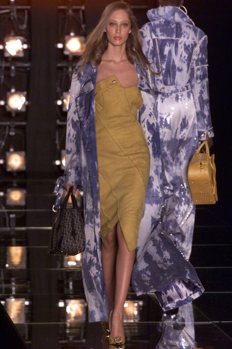 Christian Dior by John Galliano brown leather bias cut strapless dress, fw 2000 In Good Condition For Sale In London, GB