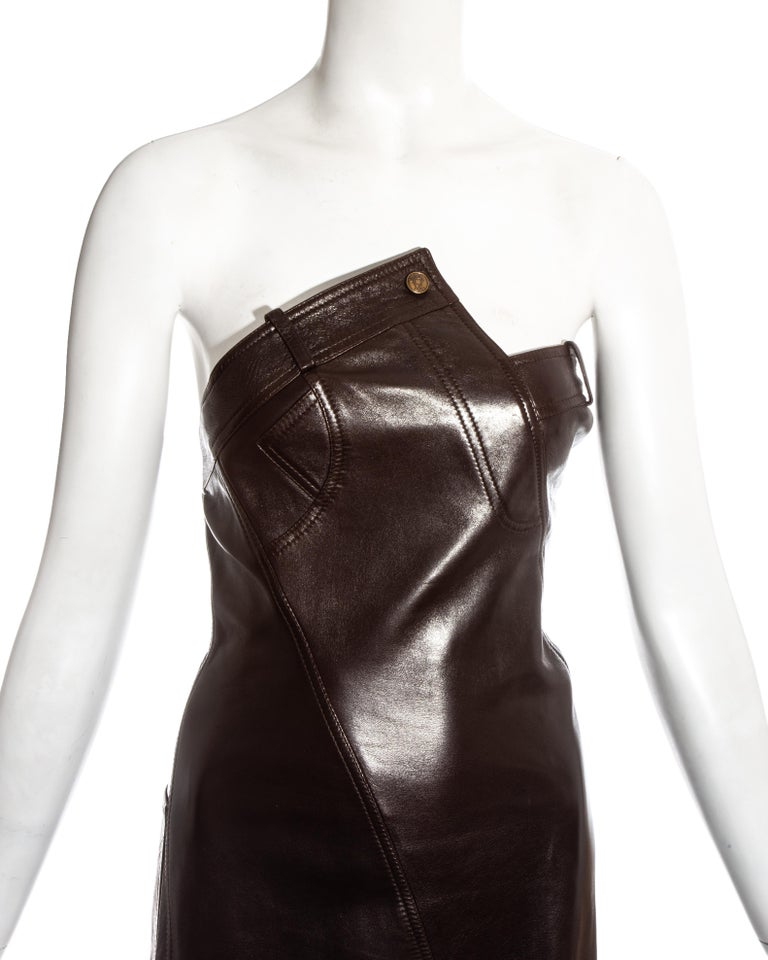 Women's Christian Dior by John Galliano brown leather bias cut strapless dress, fw 2000 For Sale