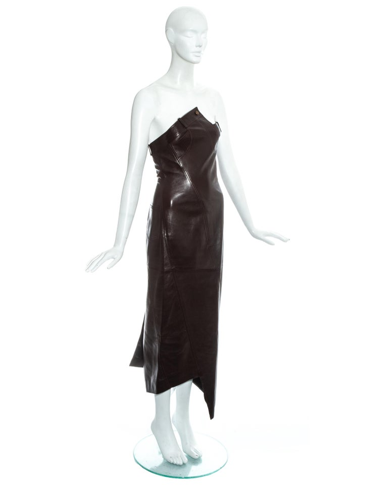 Christian Dior by John Galliano brown leather bias cut strapless dress, fw 2000 For Sale 3