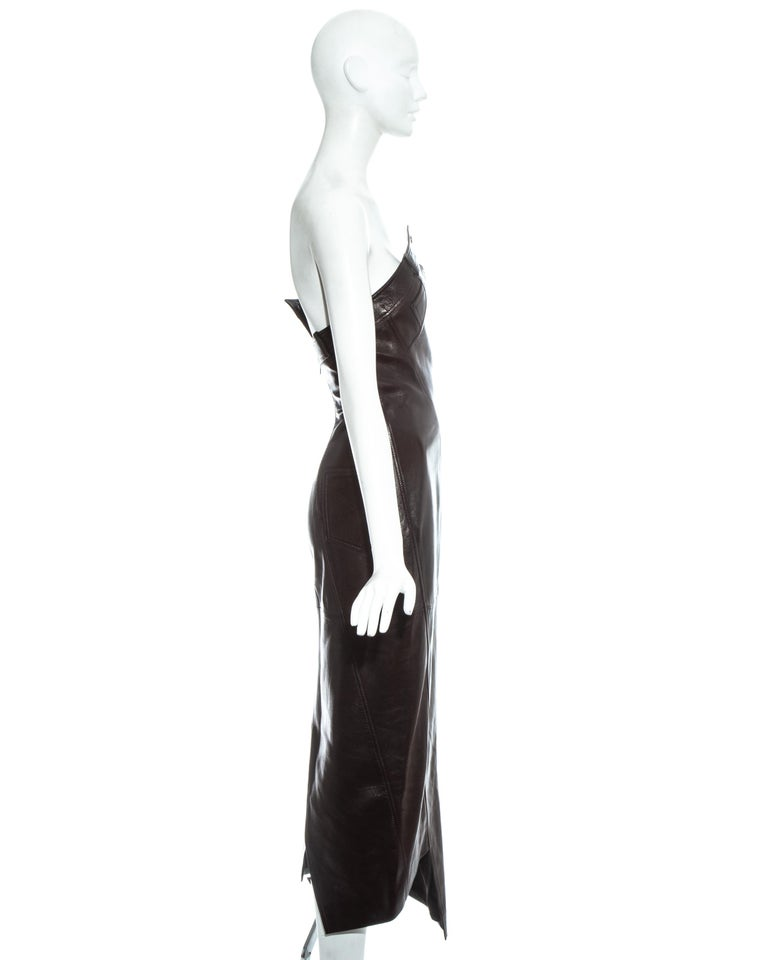 Christian Dior by John Galliano brown leather bias cut strapless dress, fw 2000 For Sale 4