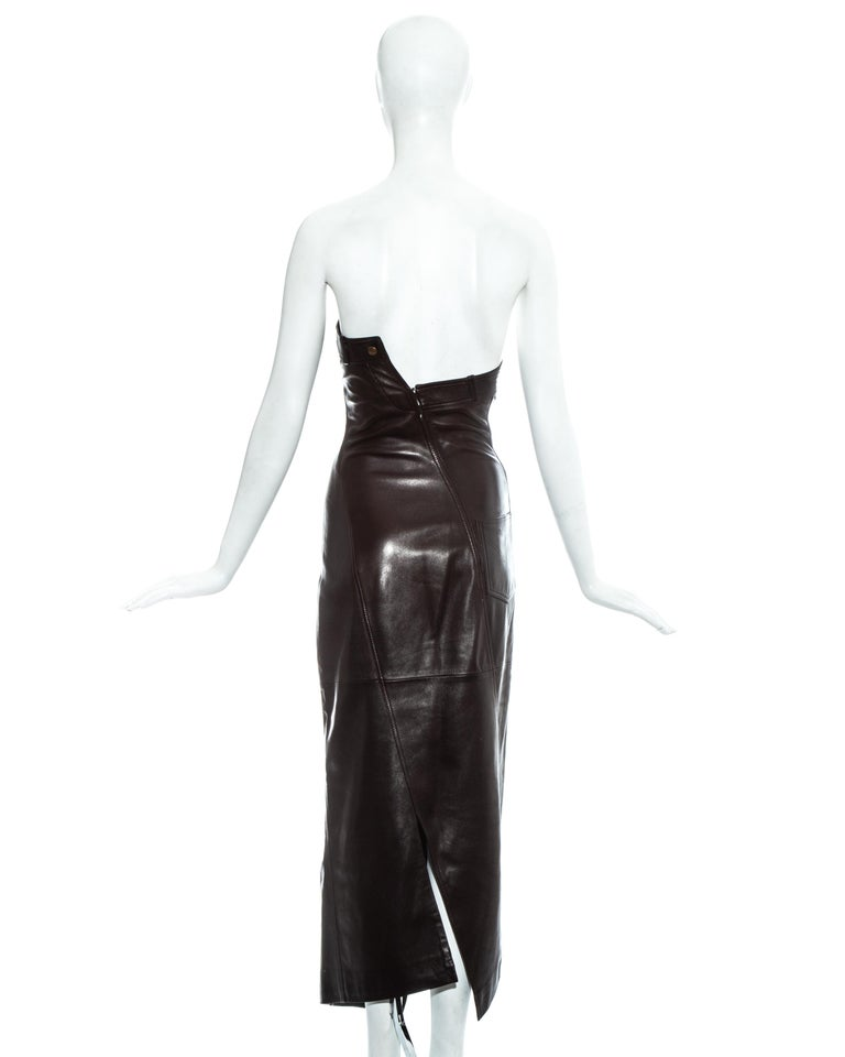 Christian Dior by John Galliano brown leather bias cut strapless dress, fw 2000 For Sale 5