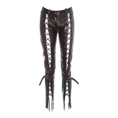 Christian Dior by John Galliano brown leather lace up pants, fw 2003
