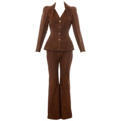 Christian Dior by John Galliano brown tooled leather pant suit, ss 2006