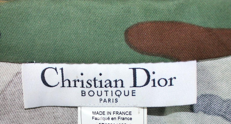 Christian Dior by John Galliano Camouflage Leather Cropped Military-Style Jacket In Excellent Condition For Sale In Switzerland, CH