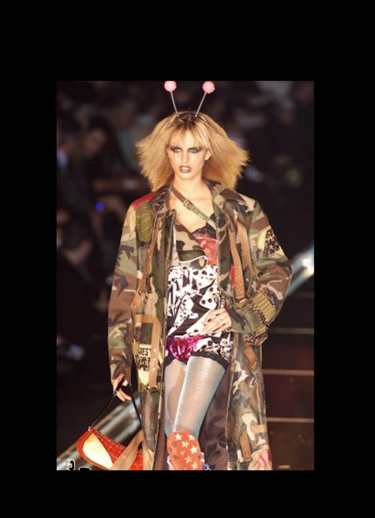 Christian Dior by John Galliano Camouflage Leather Cropped Military-Style Jacket For Sale 1
