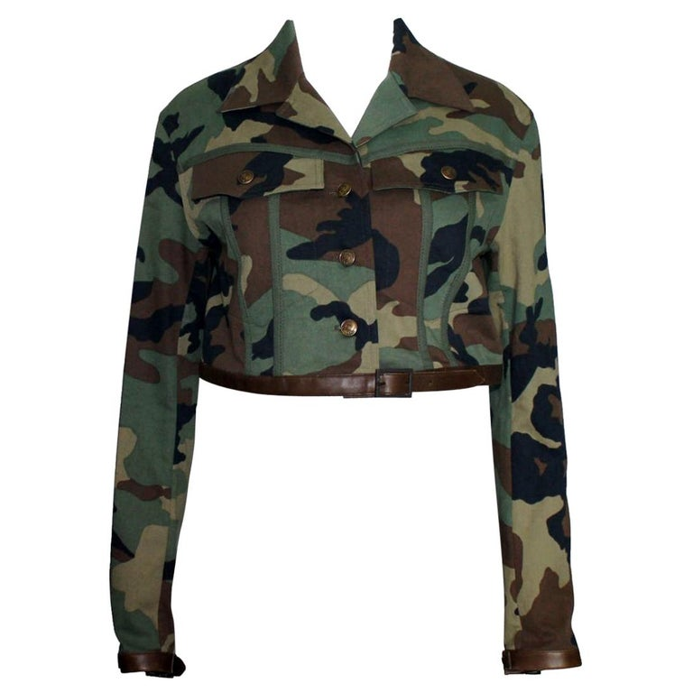 Christian Dior by John Galliano Camouflage Leather Cropped Military-Style Jacket For Sale