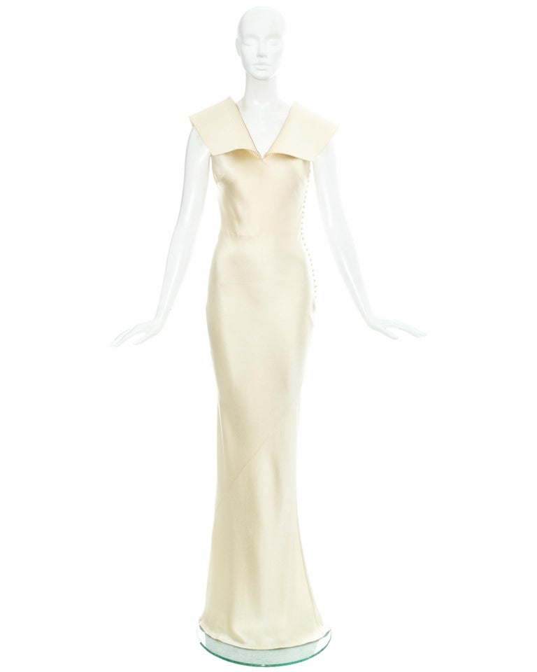 Christian Dior by John Galliano champagne silk evening dress with structured collar and fabric button fastenings on side seam  Fall-Winter 1999