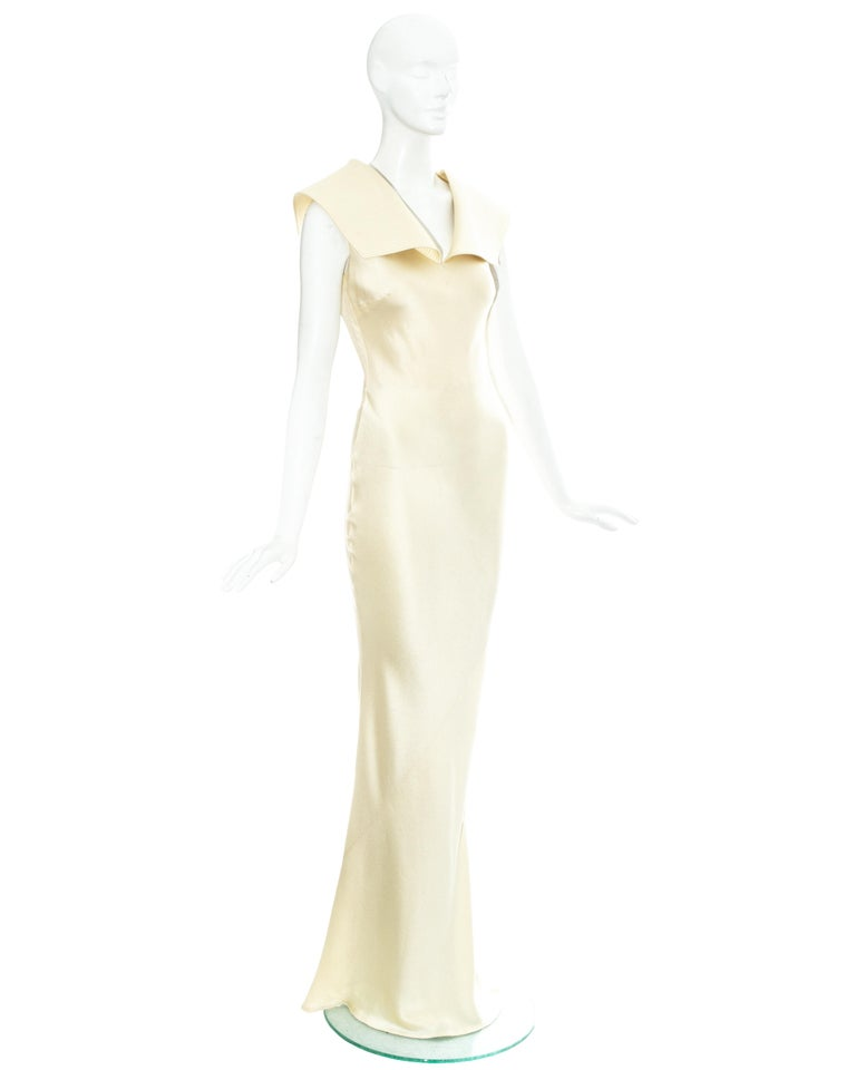 White Christian Dior by John Galliano champagne silk evening dress, fw 1999 For Sale