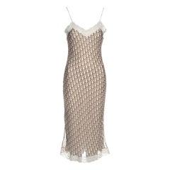 Christian Dior by John Galliano cream and brown silk slip dress, ss 2005