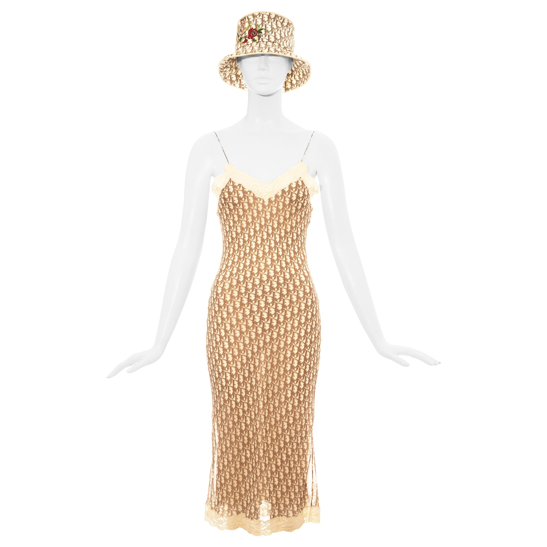 Christian Dior by John Galliano cream monogram dress and bucket hat set, ss 2005
