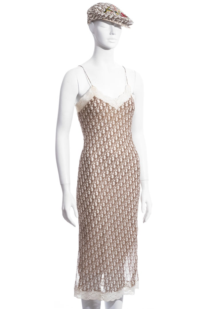 Women's Christian Dior by John Galliano cream monogram dress and hat set, ss 2005 For Sale