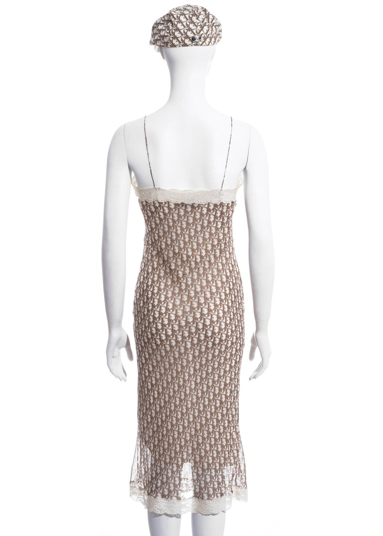 Christian Dior by John Galliano cream monogram dress and hat set, ss 2005 For Sale 2