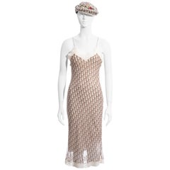 Christian Dior by John Galliano cream monogram dress and hat set, ss 2005