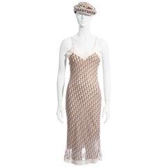 Christian Dior by John Galliano cream monogram dress and hat set, ss 2005