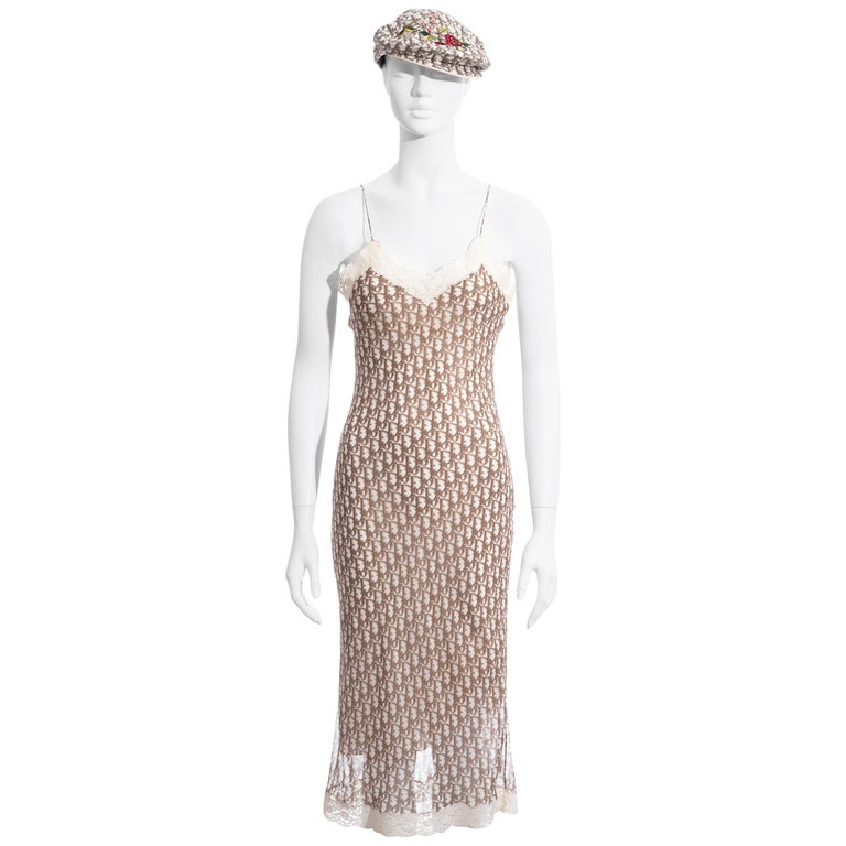 Christian Dior by John Galliano cream monogram dress and hat set, ss 2005 For Sale