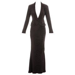 Christian Dior by John Galliano deep plum silk jacquard skirt suit, ss 1999