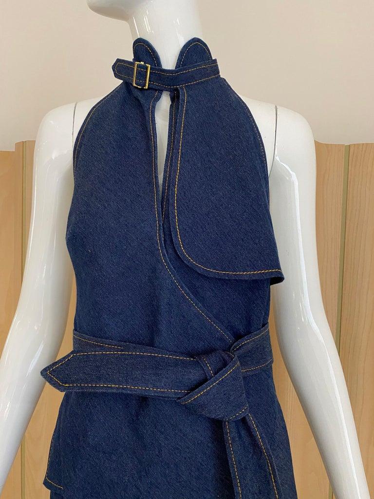 Women's Christian Dior By John Galliano Denim Halter Dress For Sale
