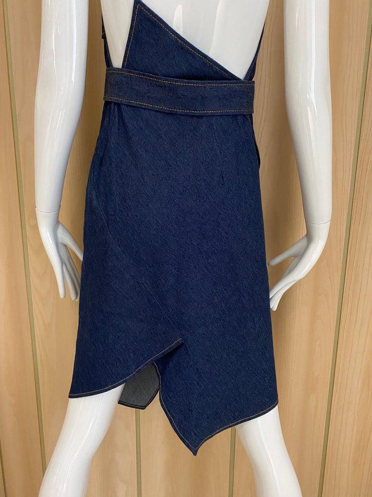 Christian Dior By John Galliano Denim Halter Dress For Sale 1