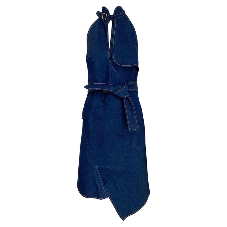 Christian Dior By John Galliano Denim Halter Dress For Sale