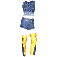 Christian Dior by John Galliano Denim Leather Shorts Ensemble Outfit Set 3PCS