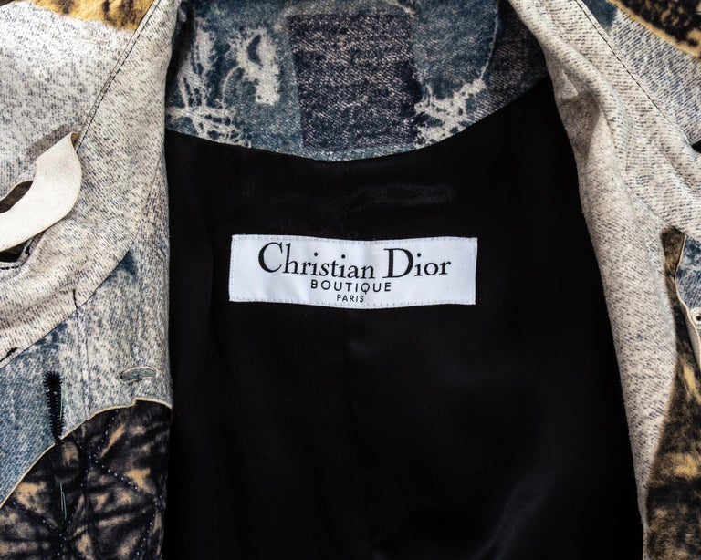 Christian Dior by John Galliano denim print patchwork leather coat, fw 2001 For Sale 6