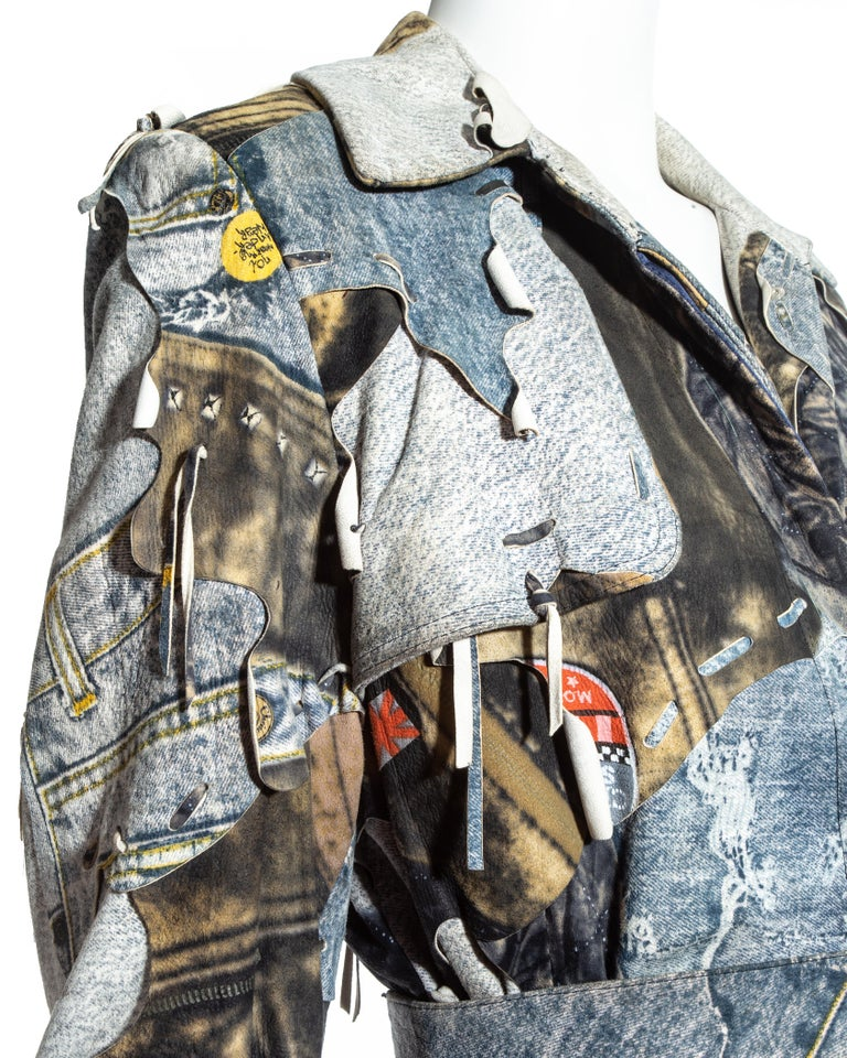 Gray Christian Dior by John Galliano denim print patchwork leather coat, fw 2001 For Sale