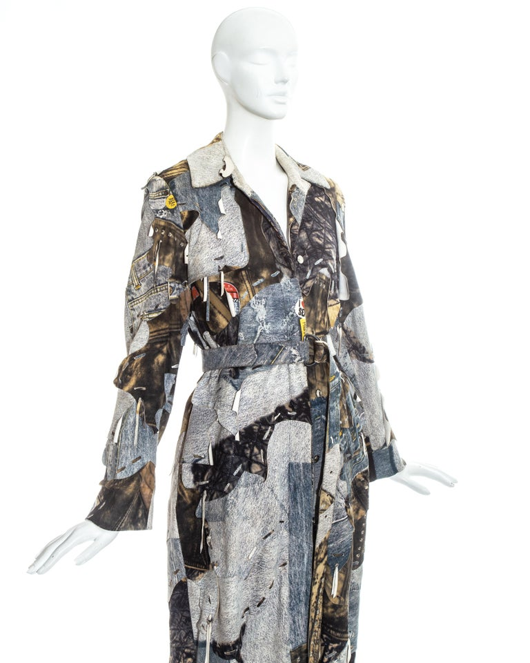 Christian Dior by John Galliano denim print patchwork leather coat, fw 2001 In Excellent Condition For Sale In London, GB