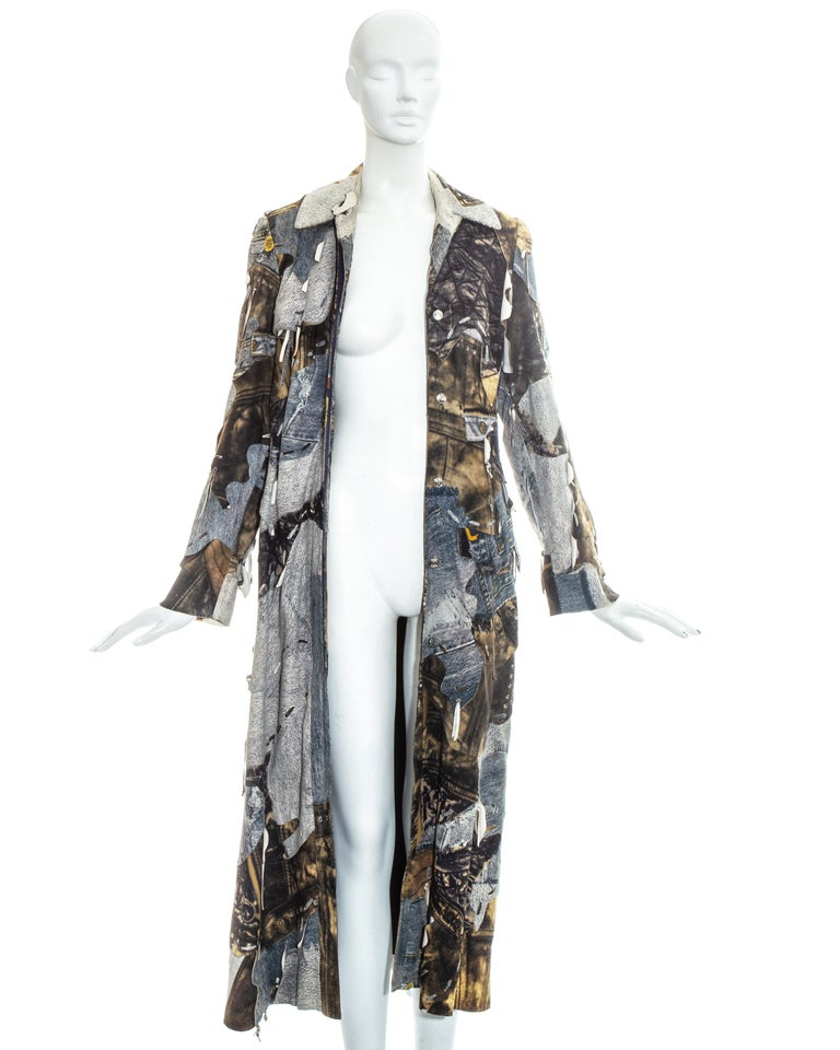 Women's Christian Dior by John Galliano denim print patchwork leather coat, fw 2001 For Sale