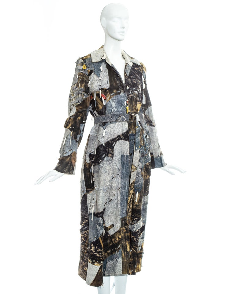 Christian Dior by John Galliano denim print patchwork leather coat, fw 2001 For Sale 1