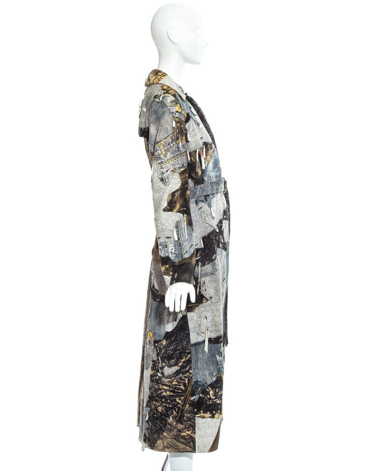 Christian Dior by John Galliano denim print patchwork leather coat, fw 2001 For Sale 2