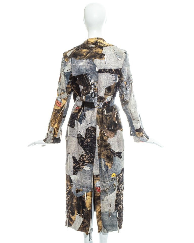 Christian Dior by John Galliano denim print patchwork leather coat, fw 2001 For Sale 3