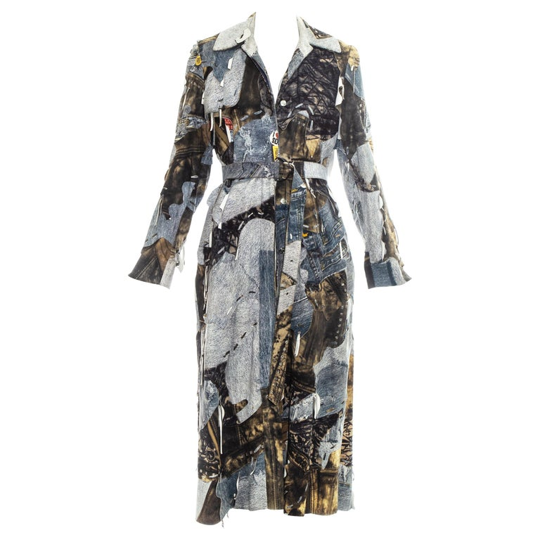 Christian Dior by John Galliano denim print patchwork leather coat, fw 2001 For Sale