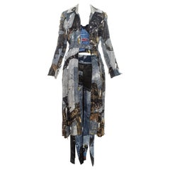 Christian Dior by John Galliano denim print patchwork leather pant suit, fw 2001