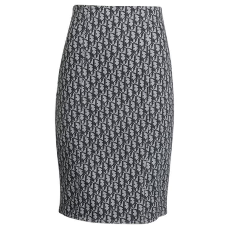 Christian Dior By John Galliano Dior Oblique Pencil Skirt