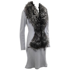 Christian Dior by John Galliano dove grey wool and fox fur skirt suit, fw 1998