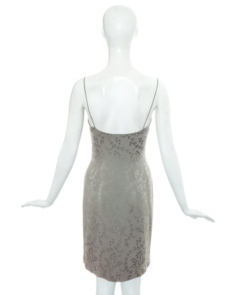 Christian Dior by John Galliano dusty blue silk brocade slip dress, ss 1998 In Excellent Condition For Sale In London, GB